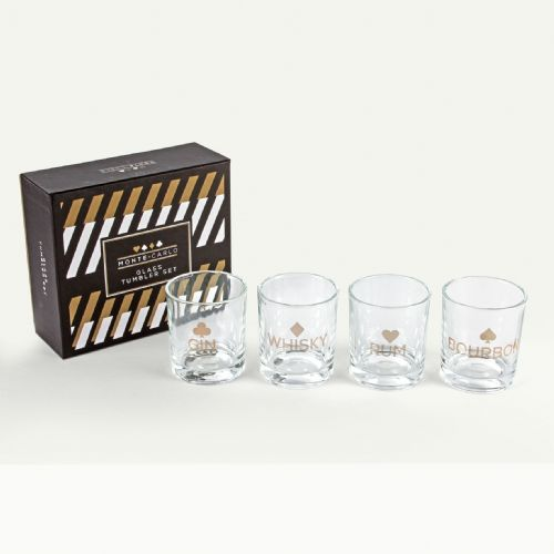 Set of 4 Tumblers, Playing card, poker, casino themed glasses in gift box